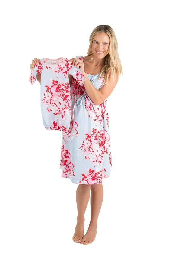 0cb112d7e006e 3 PC Set -Mae Floral Maternity Labor & Delivery Nursing Birthing Hospital  Gown 3 in 1 Baby Be Mine a