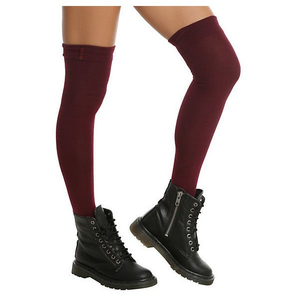 LOVEsick Burgundy Button Top Over-The-Knee Socks | Hot Topic ($13) ❤ liked on Polyvore featuring intimates, hosiery, socks, above the knee socks, over-the-knee socks, overknee socks, over knee socks and above knee socks