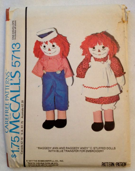 Vintage RAGGEDY ANDY & ANN Doll Sewing Pattern - Dolls Clothes ...