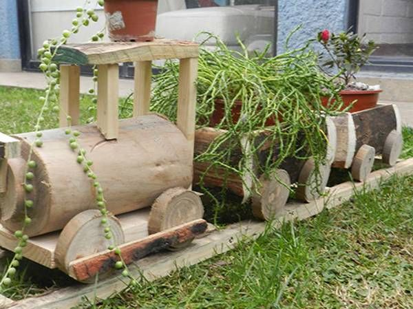 Vendo lindas macetas de madera trencito r stico 2015 08 25 for Como hacer un jardin rustico