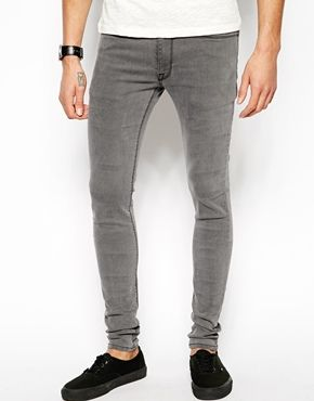 Image 1 of ASOS Extreme Super Skinny Jeans In Light Grey ...