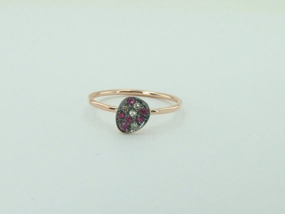 Pinky Ring Tiny Ring Diamond Ring Ruby Ring by NUUMUJEWELRY