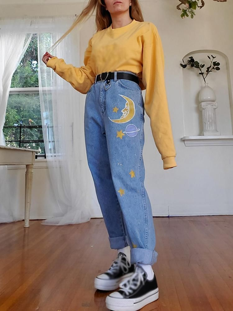 Photo of Fashion Printed Color High-waist Jeans – Blog'um