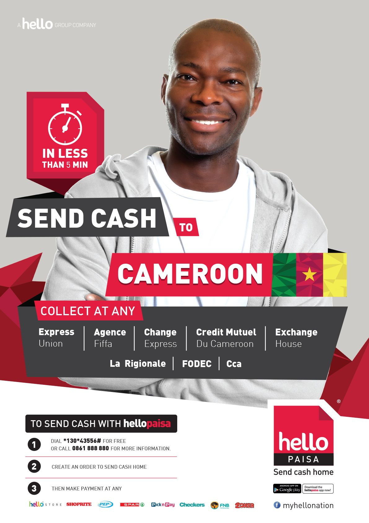 Send Money To Cameroon With Hello Paisa Www Hellopaisa Co Za Design By Group Marketing