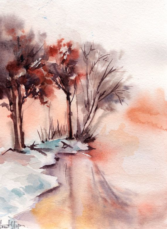 Winter Landscape Original Watercolor Painting Lake And Trees