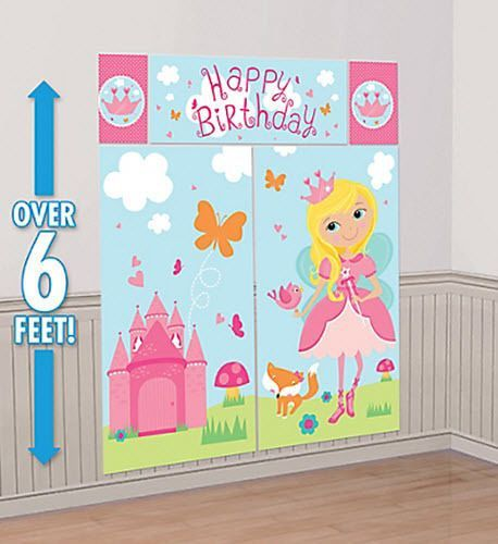 WOODLAND FAIRY Scene Setter BIRTHDAY PARTY wall decoration castle ...