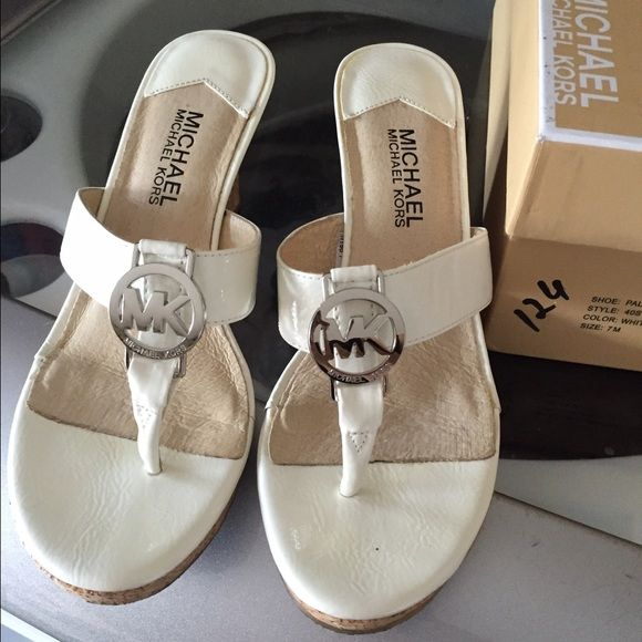 Michael Kors White Palm Beach Wedge