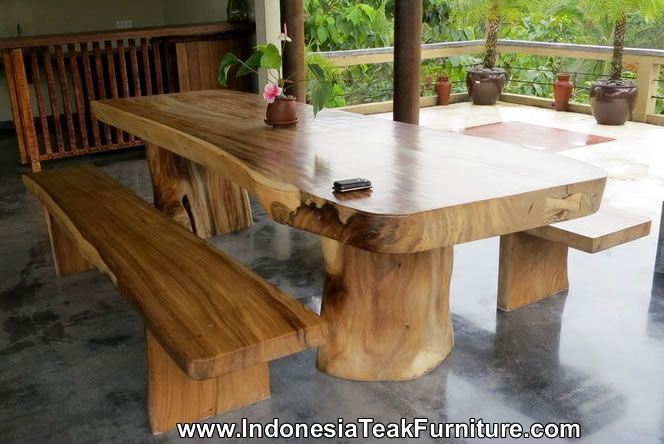 Large Dining Table Natural Wood Bench Furniture Bali Java Indonesia