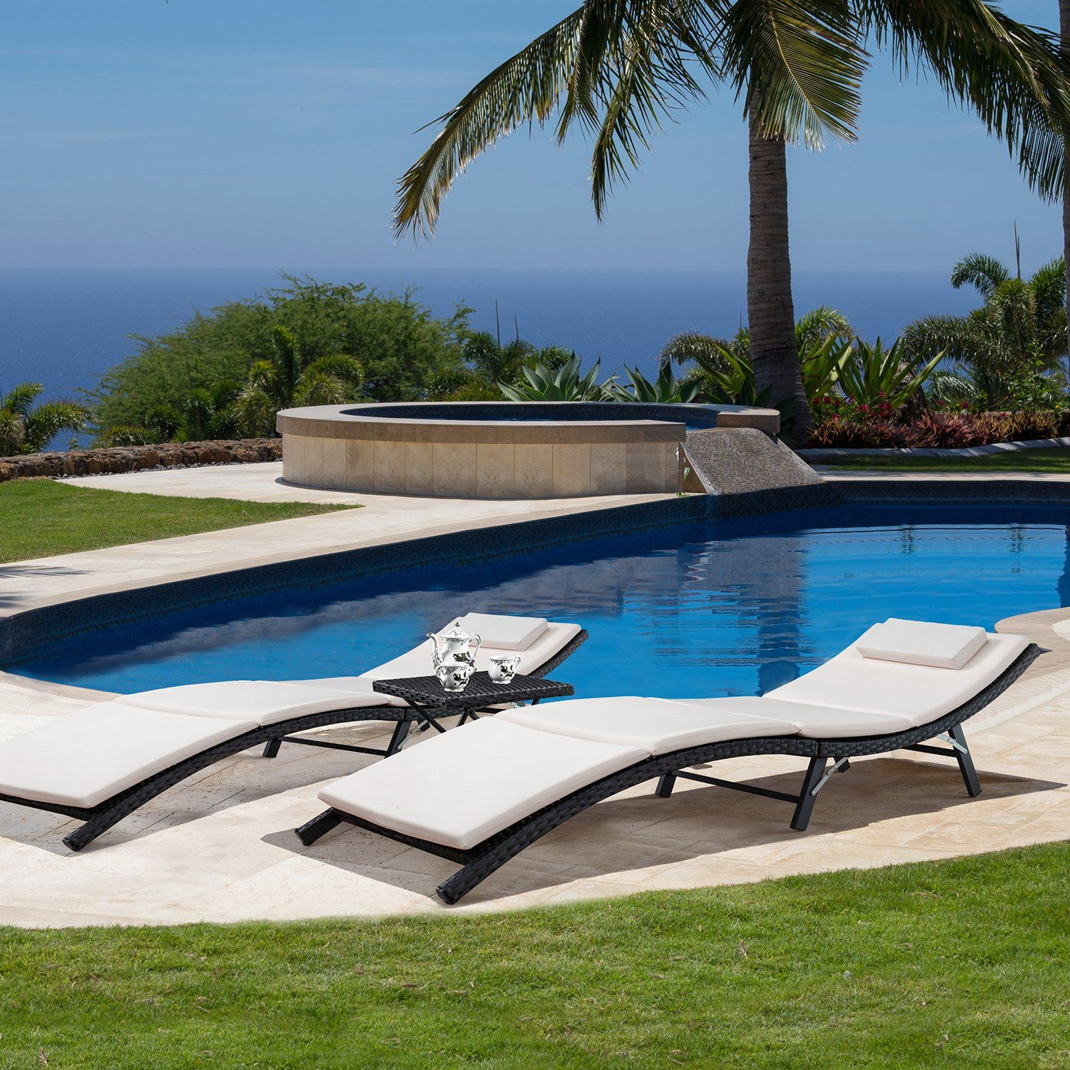 Flamaker 3 Pieces Outdoor Chaise Lounge with Cushion Modern Pool