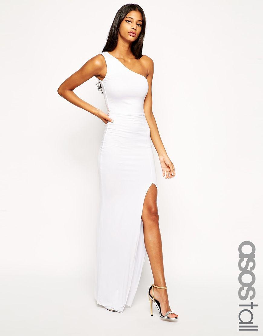 One shoulder maxi dress white
