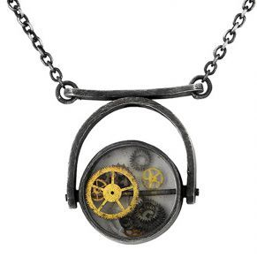 Time Talisman pendant in oxidised sterling silver, watch glass and watch parts   By Deeana Michela  www.deeanamichela.com
