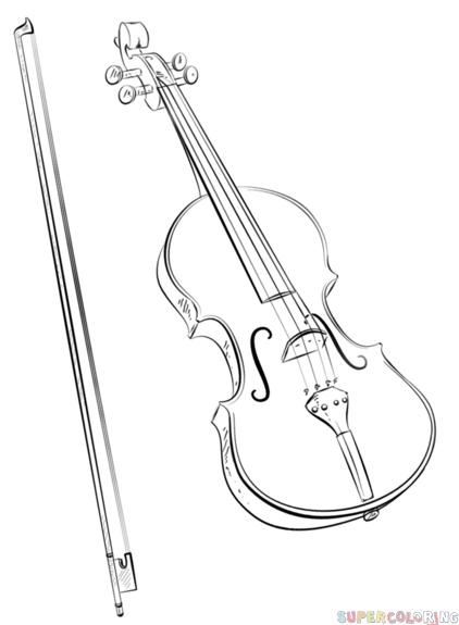 How to draw a violin and bow | Step by step Drawing ...