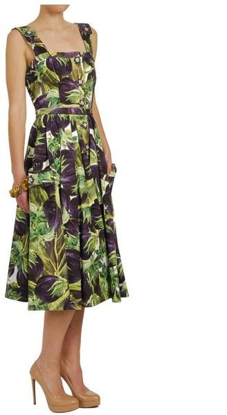 3a7da188 Dolce & Gabbana Aubergine Printed Cotton Drill Dress | Dresses