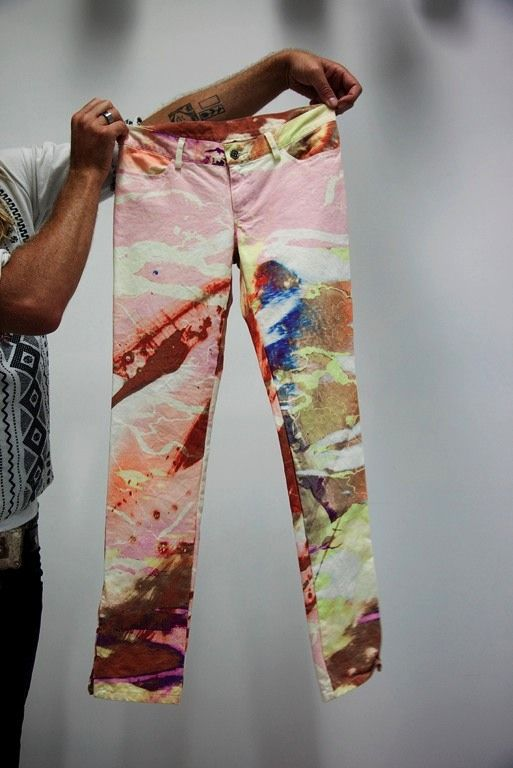 Marbleized jeans on the Selby