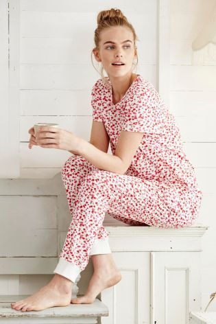 White/Pink Short Sleeve Printed Pyjamas