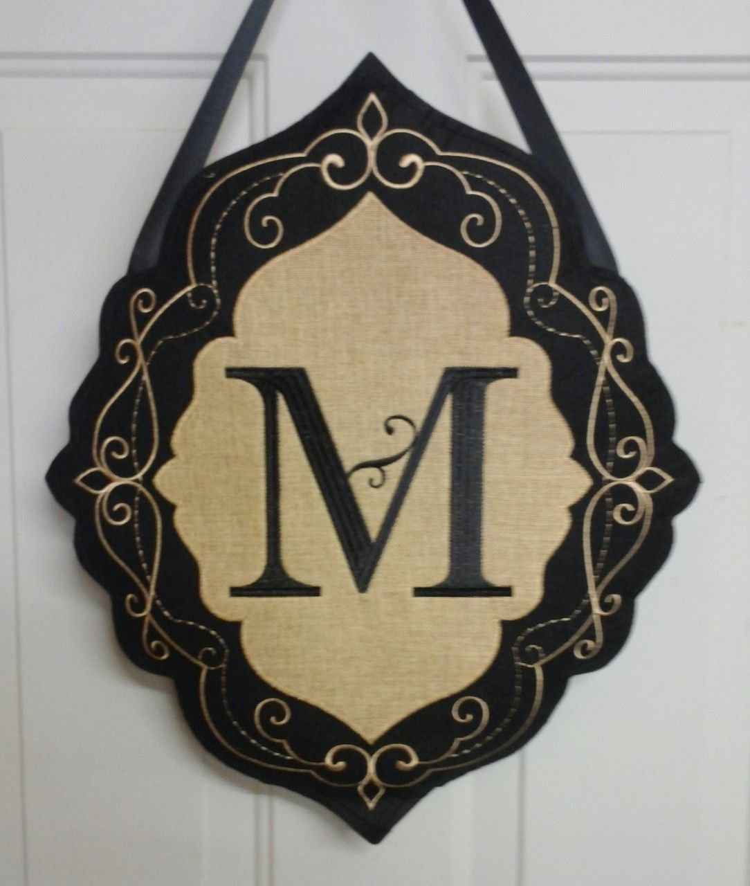 Decorative Door Hangers Iamericas Flags Burlap Monogram M Decorative Door Hanger 2500