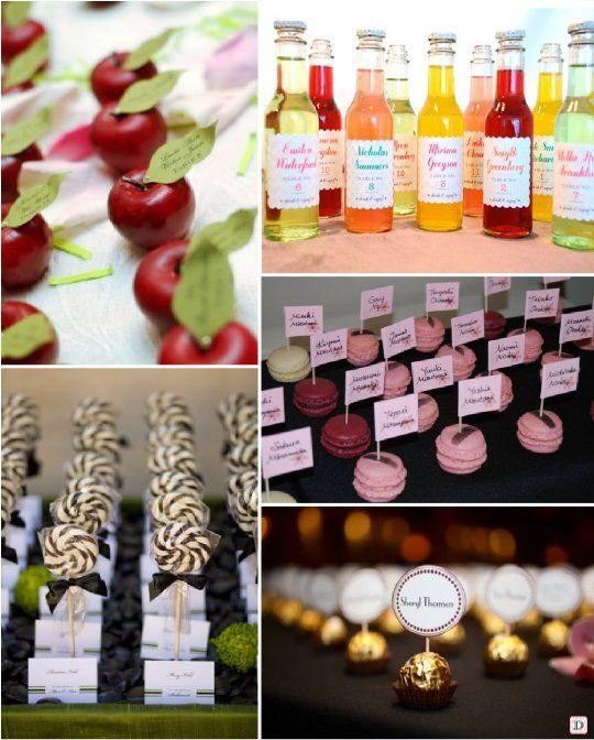 idees plan de table mariage escort card gourmand pomme sucette macaron ferrero bouteille. Black Bedroom Furniture Sets. Home Design Ideas