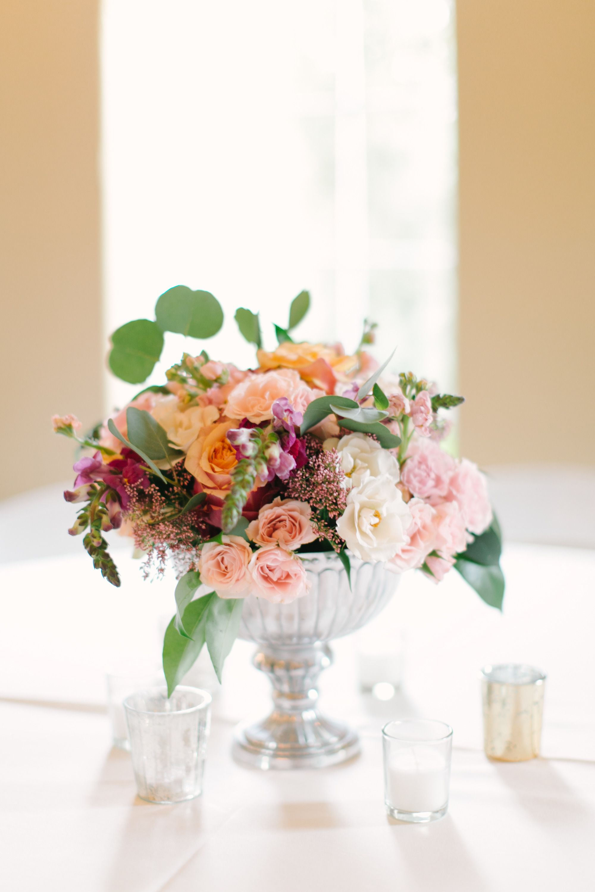 Beautiful fall pastel colored wedding mint centrepieces and