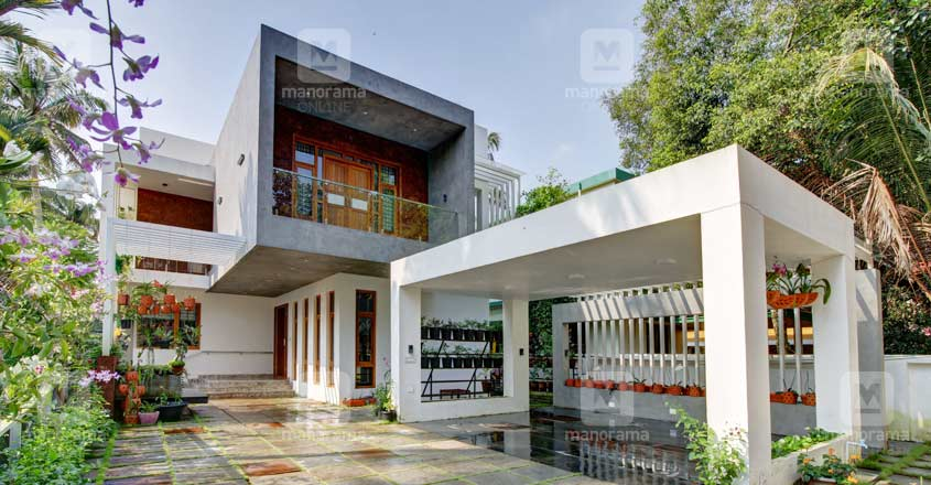 The Contemporary Style Elevation That Features Some Amazing Square Shaped Designs And The Stunning Landsc With Images House Design Luxury House Designs Modern