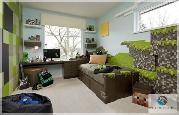 Minecraft game room decor minecraft themed bedroom for Bed decoration minecraft