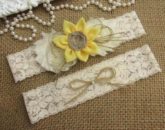 Sunflower Wedding Garter Set Rustic Country Chic Keepsake Toss