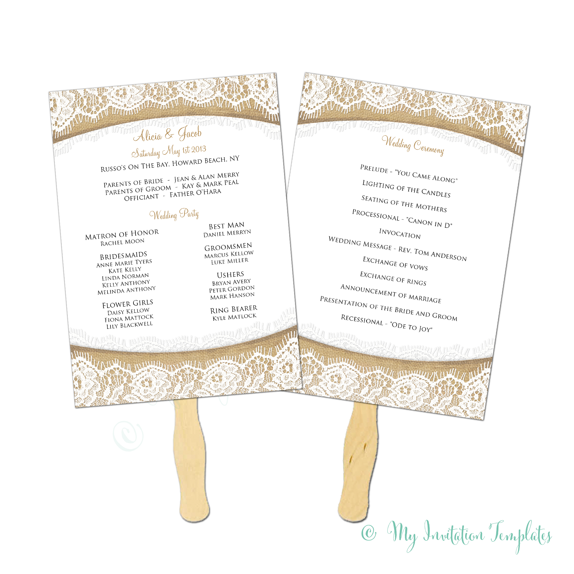 Burlap And Lace Rustic Wedding Program Fan Template Instant