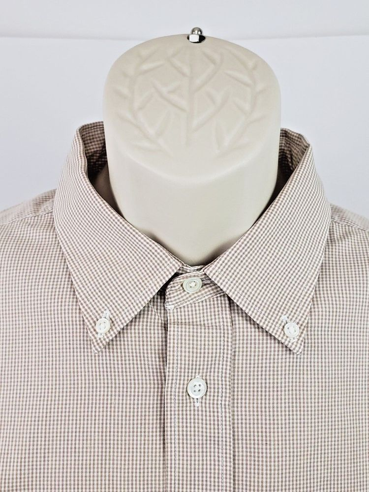 b68daf53da5 Christian Dior Mens Long Sleeve Dress Shirt 17 1 2 34 35 Brown Gingham  Check  Dior