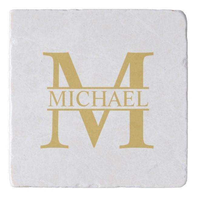 Luxury Gold Personalized Monogram and Name Trivet #name #masculine #monogram #family #wedding #Trivet