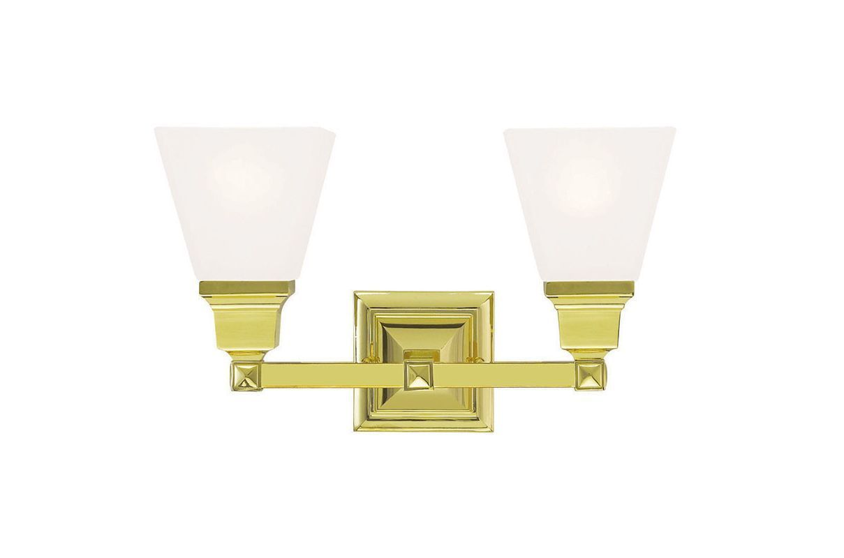 Photo of Livex Lighting 1032-02 Mission 2 Light bathroom furniture made of polished brass