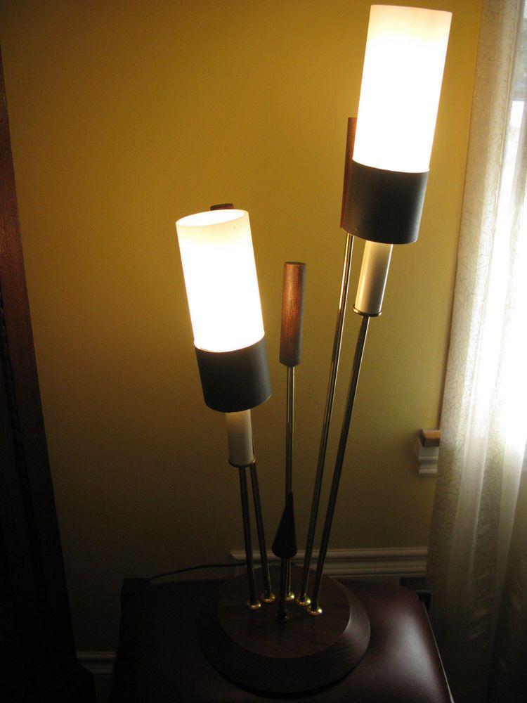 vintage 60s table lamp walnut wood and glass shades retro vintage rh pinterest com