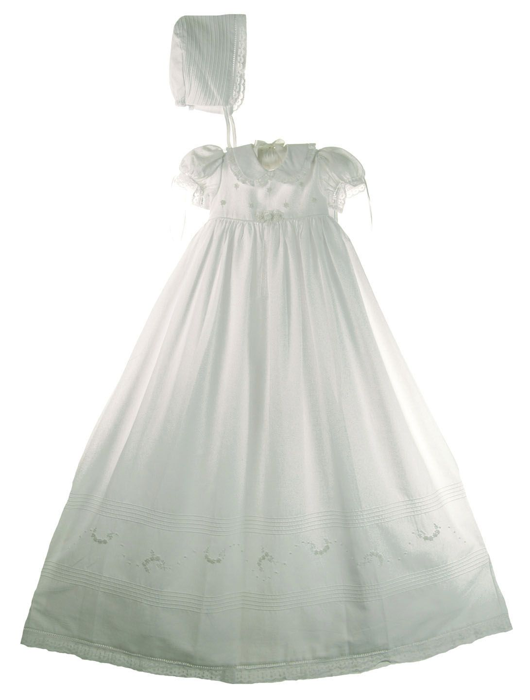 c890e81b6 NEW Will'Beth White Cotton Christening Gown with Lace, Embroidered Flowers,  and Seed Pearls $175.00