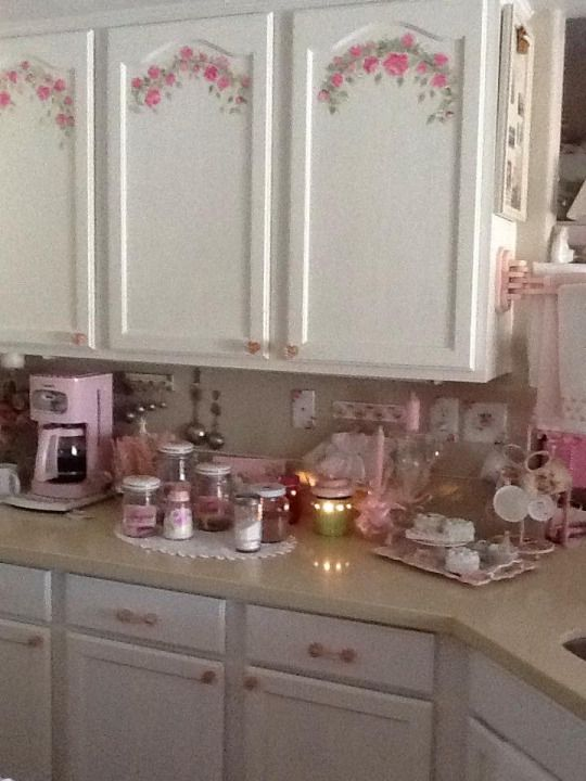 interesting shabby chic kitchen cabinet   DIY - Swag decal or decoupage your kitchen cabinets for ...