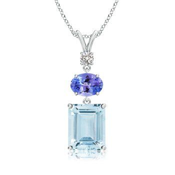 Angara Tanzanite and Diamond V-Bale Pendant in Platinum vHTP0yBQaw