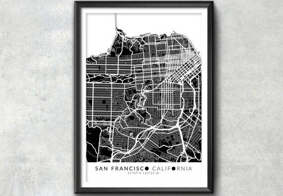 San Francisco Map with Coordinates San Francisco Map Map by IdeateCreateStudio | Etsy