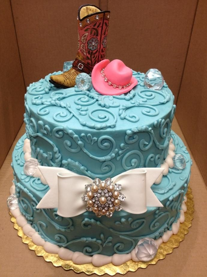Enjoyable Cowgirl Cake But With Pink Instead Of Blue With Images Personalised Birthday Cards Bromeletsinfo