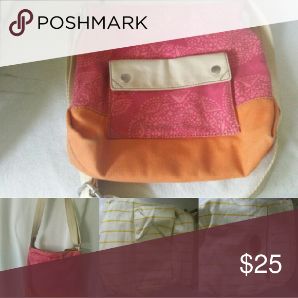 SOLD Fossil lena crossbody Large canvas crossbody pink orange and cream Fossil Bags Crossbody Bags