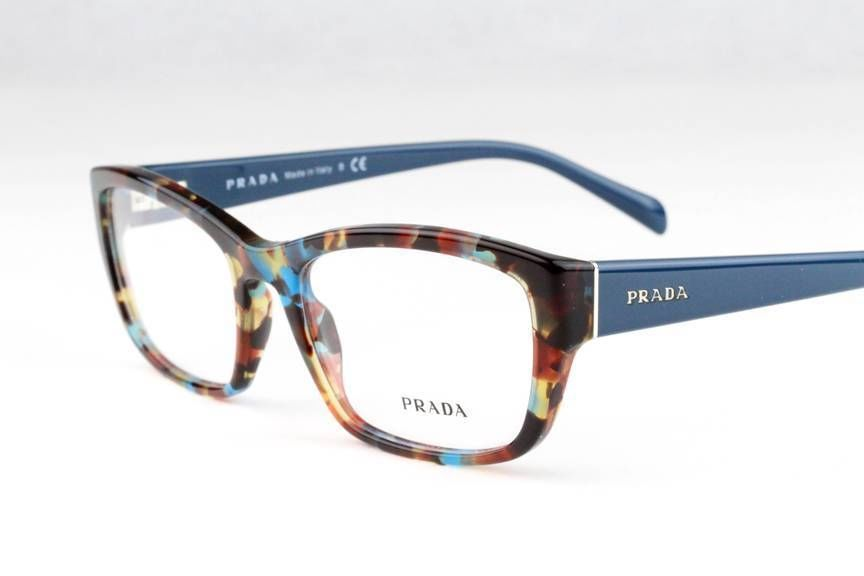 97e5fdb3ab4 New Prada VPR18O Eyeglasses Frames Blue Havana Marble NAG-1O1 Authentic  54mm  Prada