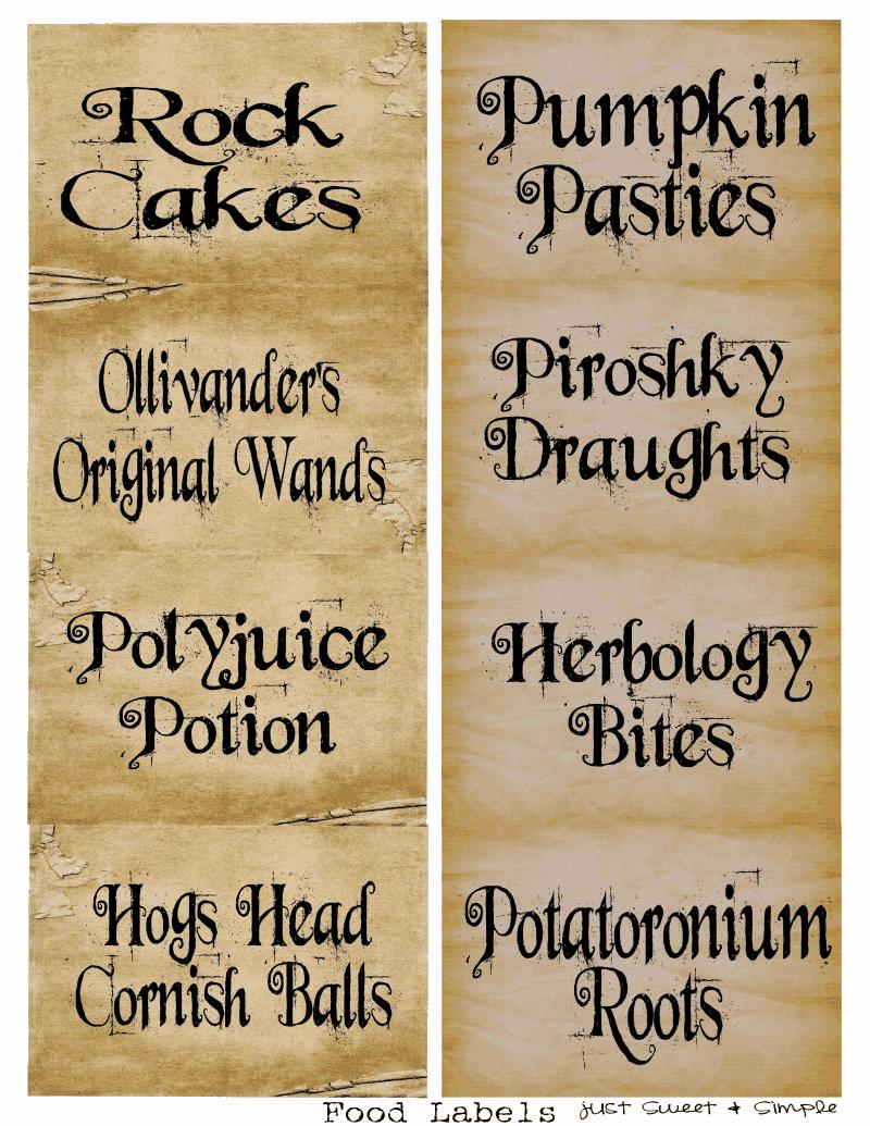 Harry Potter Food &Drink Labels.PDF   Parties!   Pinterest ...