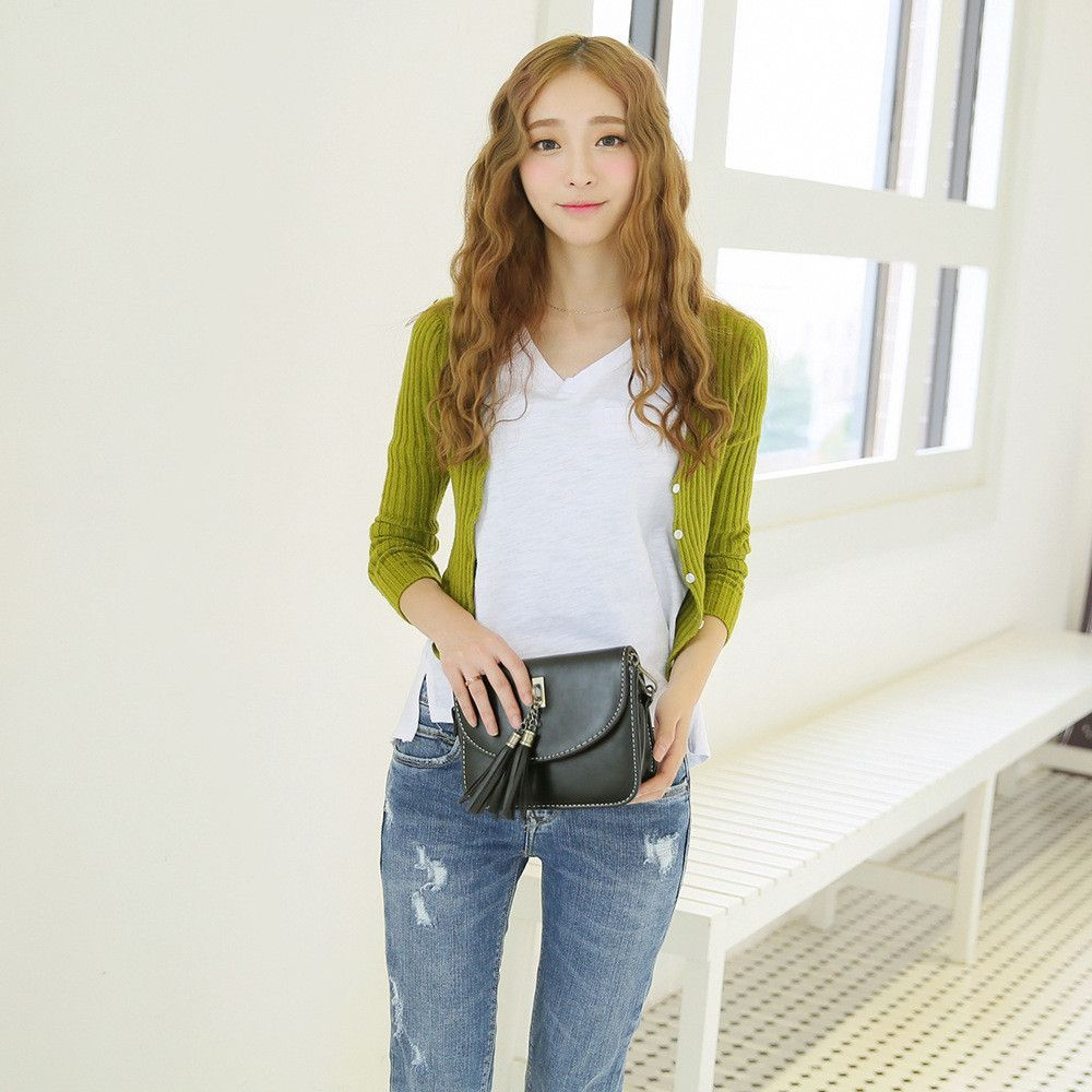 Korean Fashion - Single-breasted cultivating long-sleeved knit
