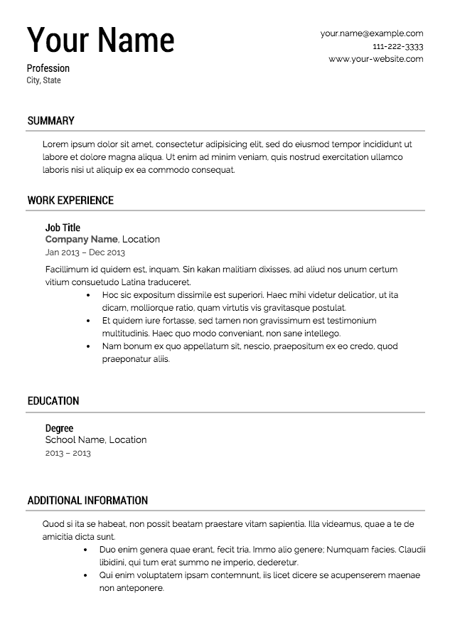 Resume For A Job Free Resume Templates Downloads  Httpwwwvalerynovoselsky
