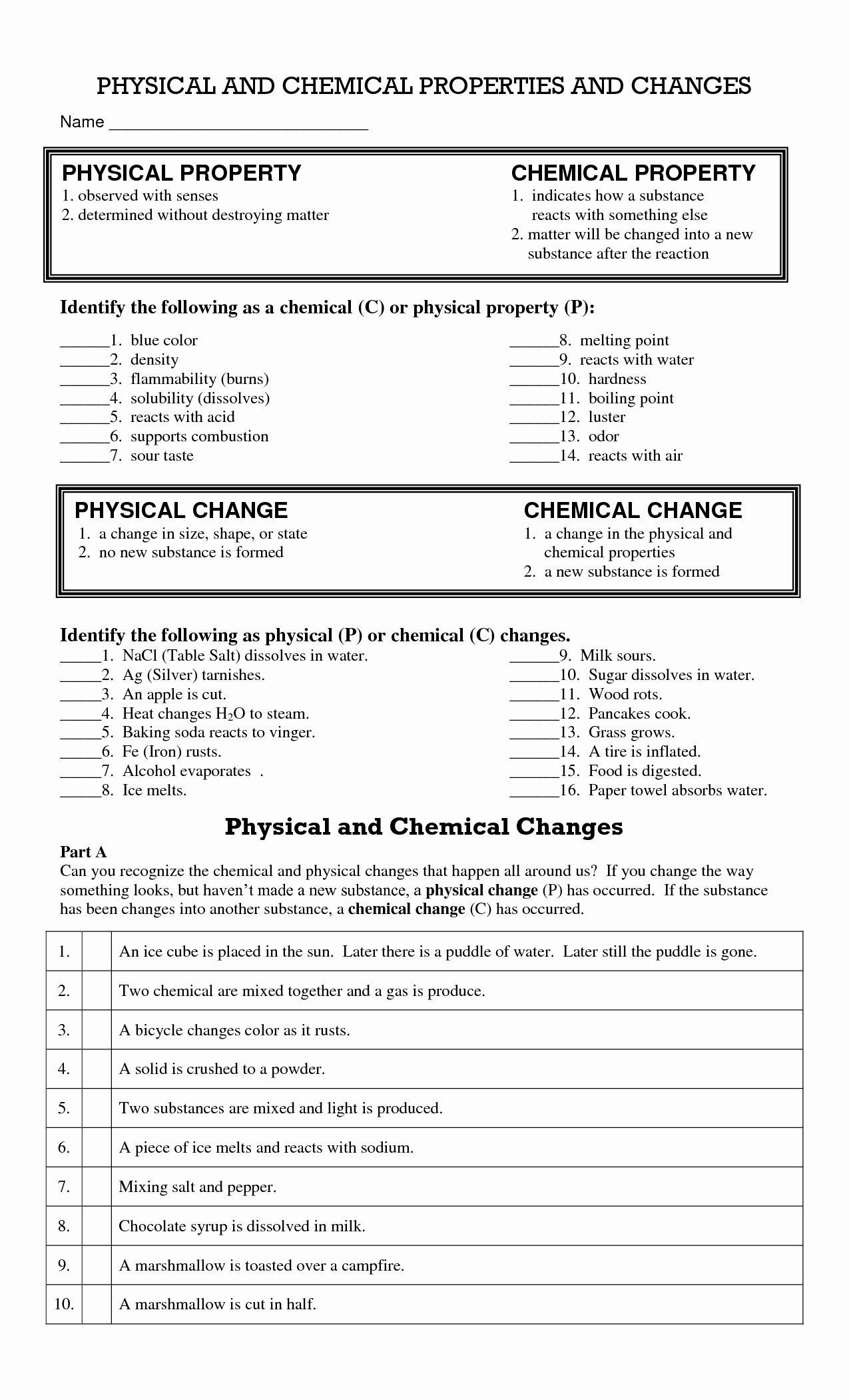 20 Chemical And Physical Change Worksheet In