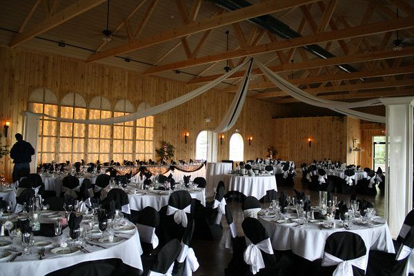 Black and White Wedding Black chair covers with white sashes and – Chair and Table Covers