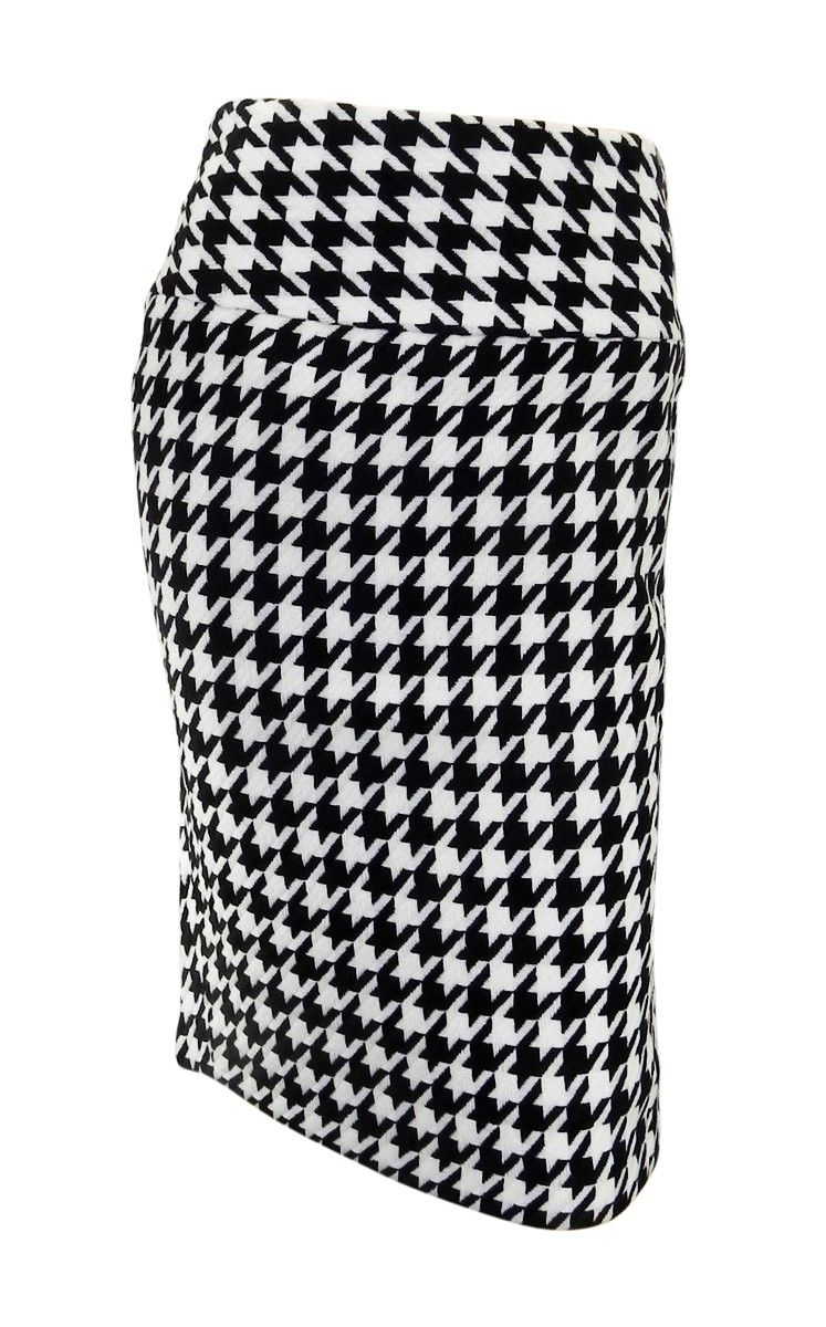 Matalan Papaya Bold Black White Dogtooth Check Pattern Pencil
