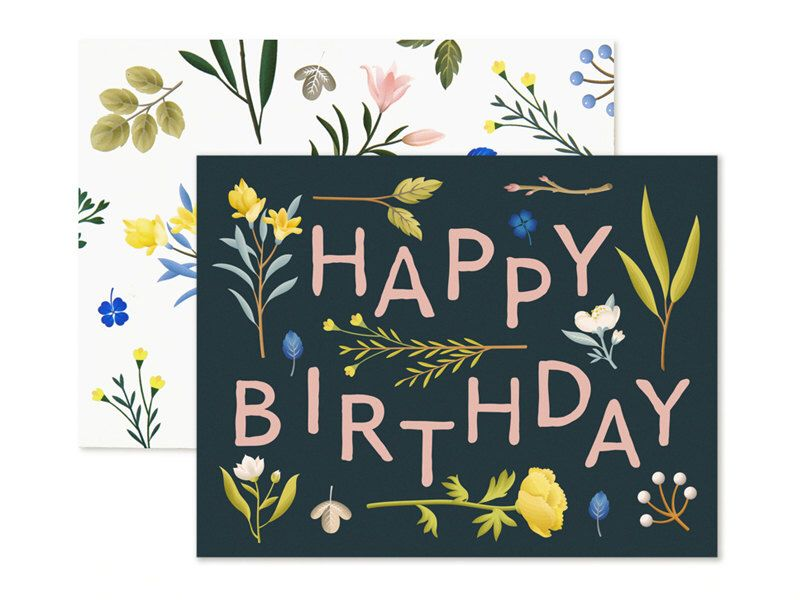 Plant Variety Birthday Card Navy Etsy Birthday Cards Birthday Cards For Her Personalized Greeting Cards