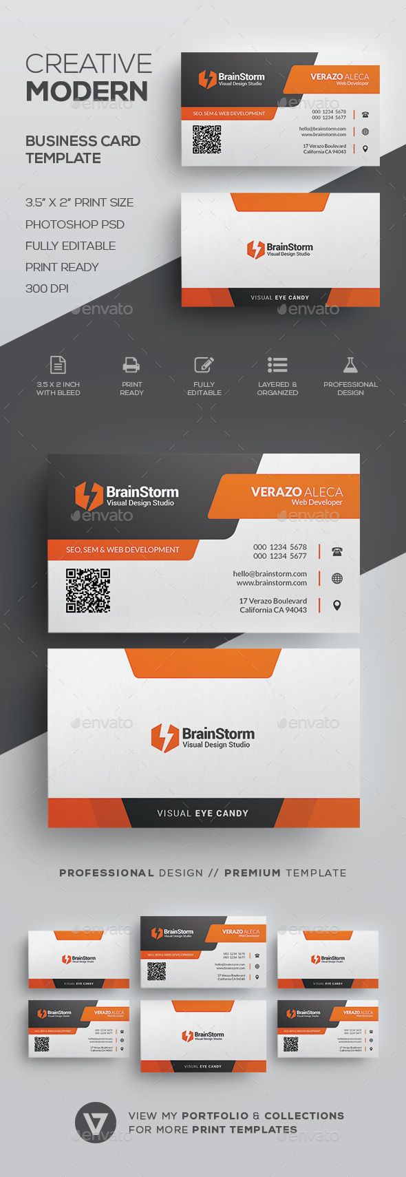 Modern Business Card Template | Corporate business, Card templates ...
