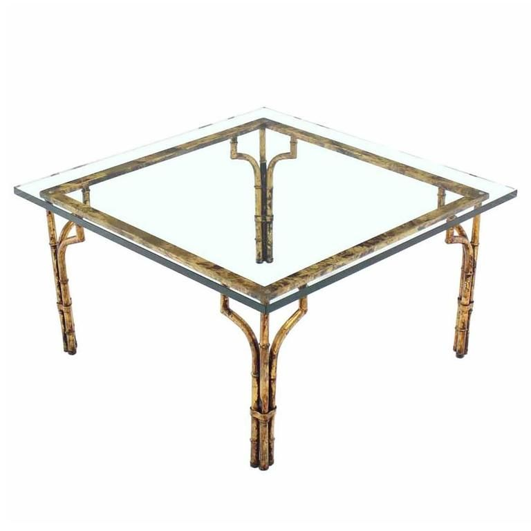 Gilt Metal Faux Bamboo Thick Glass Top Square Coffee Table Faux