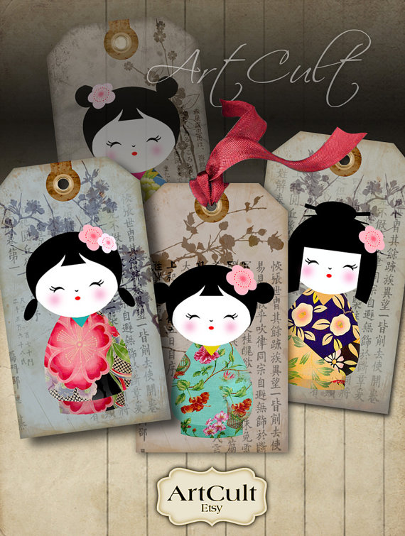 KOKESHI GIFT TAGS - Digital Collage Sheet Printable Download Images japanese dolls washi paper jewelry holders scrapbook