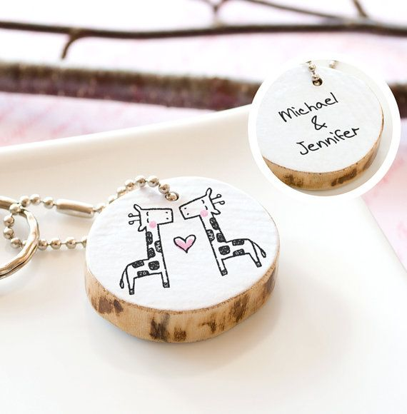Cute Wedding Gift Ideas: Giraffe Couple Keychain PERSONALIZED Bridal Shower Gift