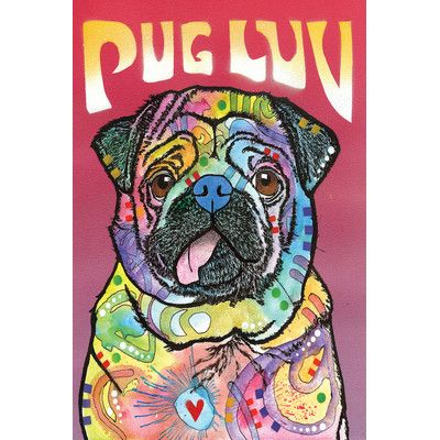 East Urban Home Pug Luv Graphic Art On Wrapped Canvas Pugs T