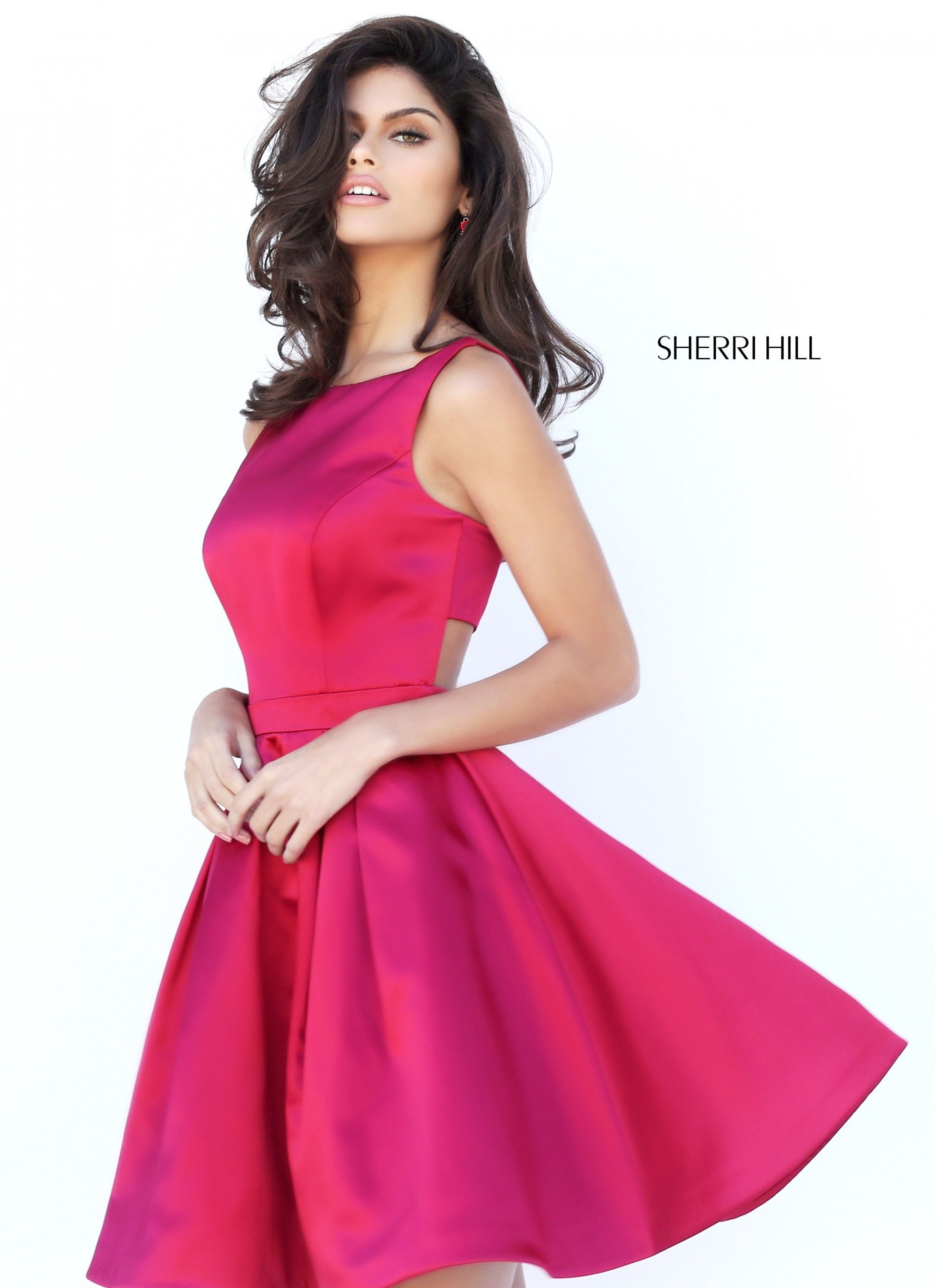 Sherri hill fall collection hot pink short simple dress